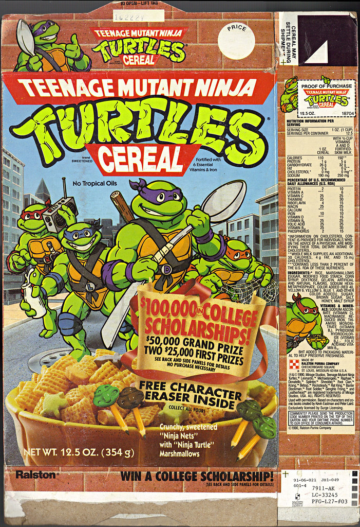 "Ralston ""TEENAGE MUTANT NINJA TURTLES"" CEREAL - '$100,000 in COLLEGE SCHOLARSHIPS!' i (( 1991 )) by tOkKa"