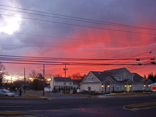 road street blue winter red sky cloud house beautiful clouds sunrise newjersey colorful pretty nj wires monroe february 2009 middlesex township shx hikichi dublinninja shawnhikichi
