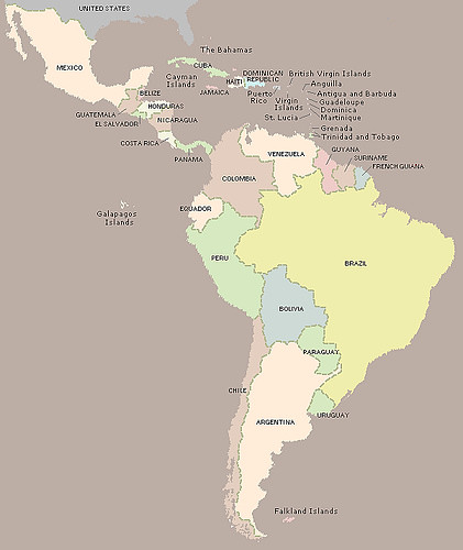 Mapa de América Latina (map of Latin America)