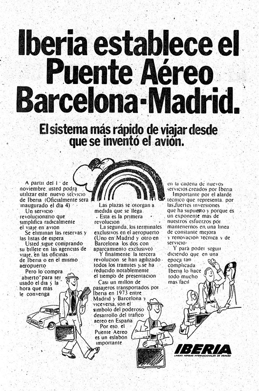 Anuncio de Iberia: Puente Aéreo, octubre de 1974