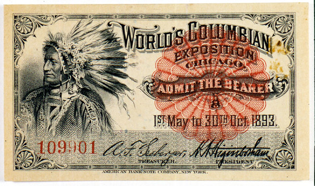 Ticket with portrait of Native American