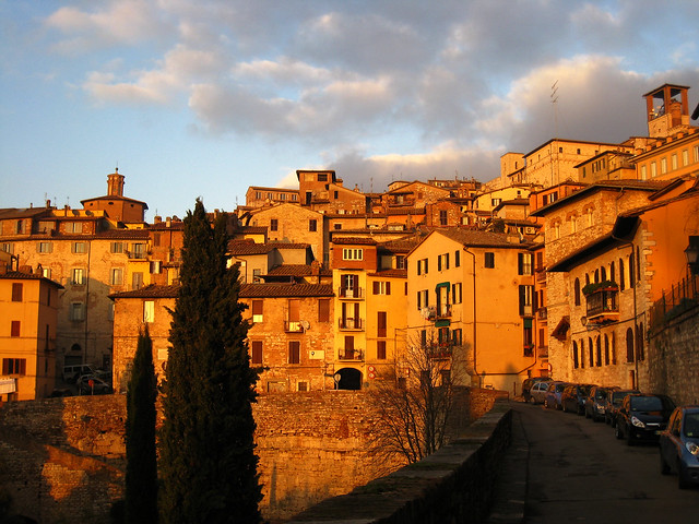 Perugia (Italy) colored by the last sunset of the year