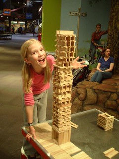 Sarah builds a wooden tower | by Wesley Fryer