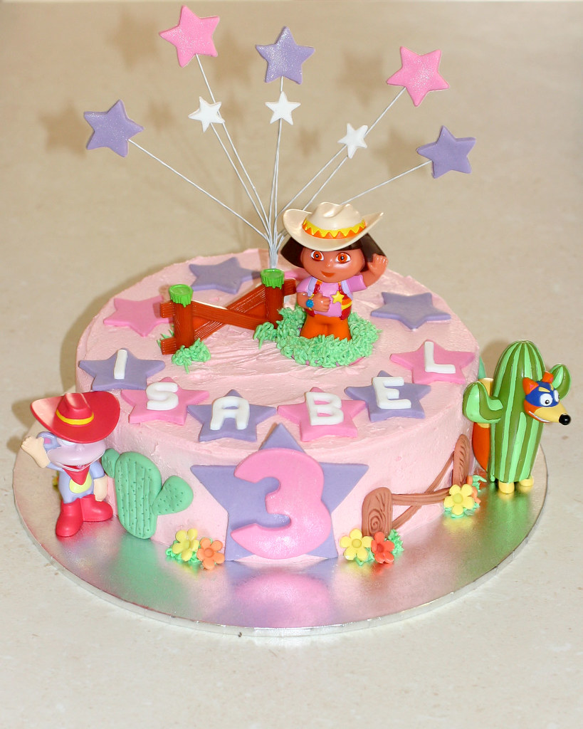 Awe Inspiring Cowgirl Dora Birthday Cake Chocolate Mud Cake Vanilla Butt Flickr Funny Birthday Cards Online Alyptdamsfinfo
