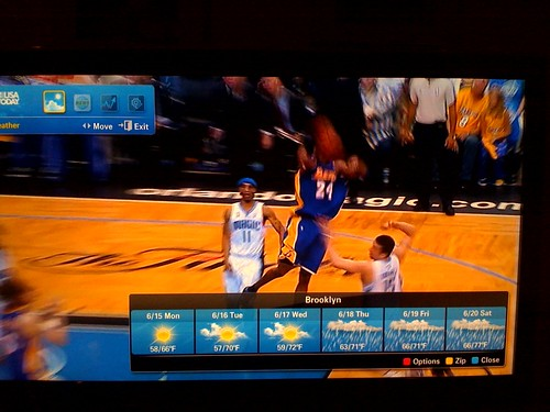 Not just the Lakers game, but this Samsung TV that sucks in web content (weather / news / sports) which displays on-top of Live (content is generate by the TV, not the set-top box.  Ethernet plugs into the back just like an AV cable).  Rad. | by dpstyles™