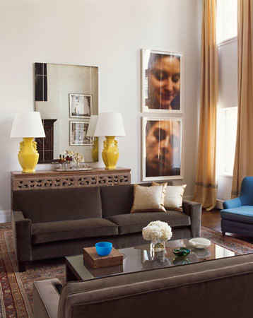 Blue Brown Living Room Yellow Accents Modern Art Flickr
