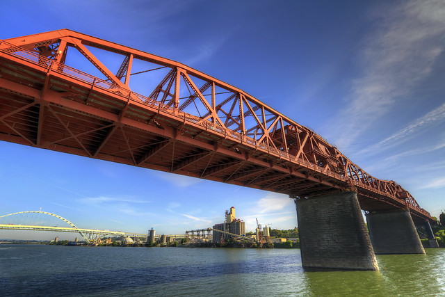 Broadway Bridge with Fremont Bridge - HDR