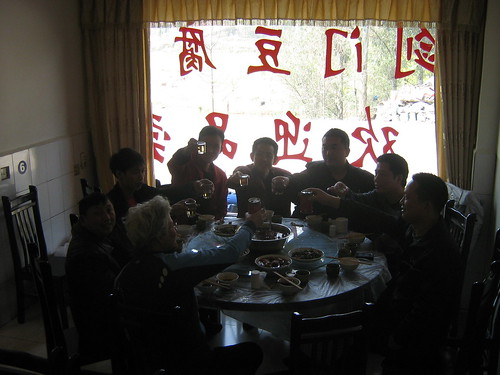 Lunch with the (post earthquake) reconstruction crew, Guangyuan