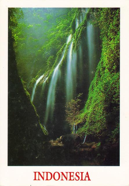 Indonesia Madakaripura Waterfall Postcard