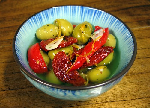 Marinated Olives, Sun-Dried Tomatoes, and Roasted Red Peppers | by Asado Argentina
