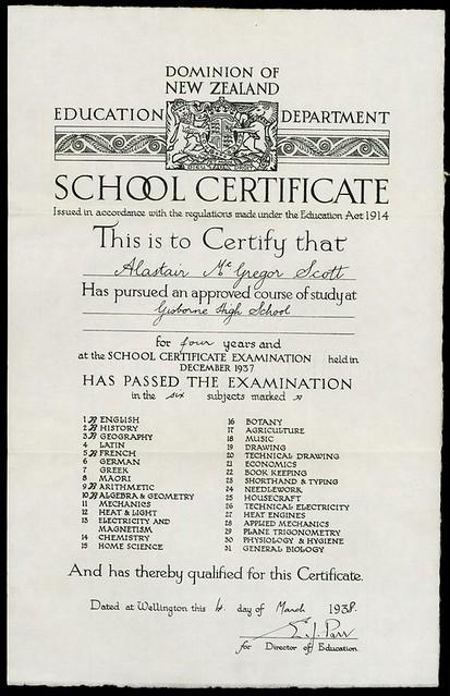 New Zealand School Certificate, 1938  | New Zealand Educatio