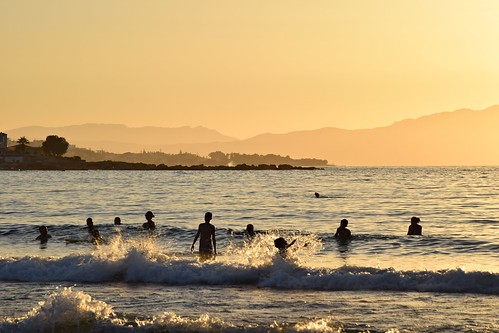 time water sea mediterranean sunset fun holiday landscape seascape nature view people silhouettes waves sunsetbeach chania xania canea katodaratsos crete kriti kreta greece