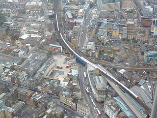 London buses seen from a very great height...The Shard (Southwark/Bankside area)