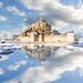 Mont Saint-Michel puddle mirrored