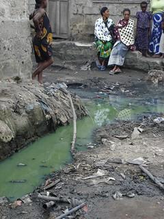 Sewage in the street in Tandale, Dar es Salaam