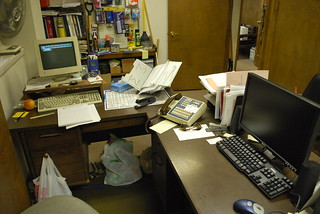 a very messy office