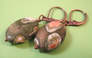Rainforest Jasper and Copper Earrings | by Sleeping cat beads