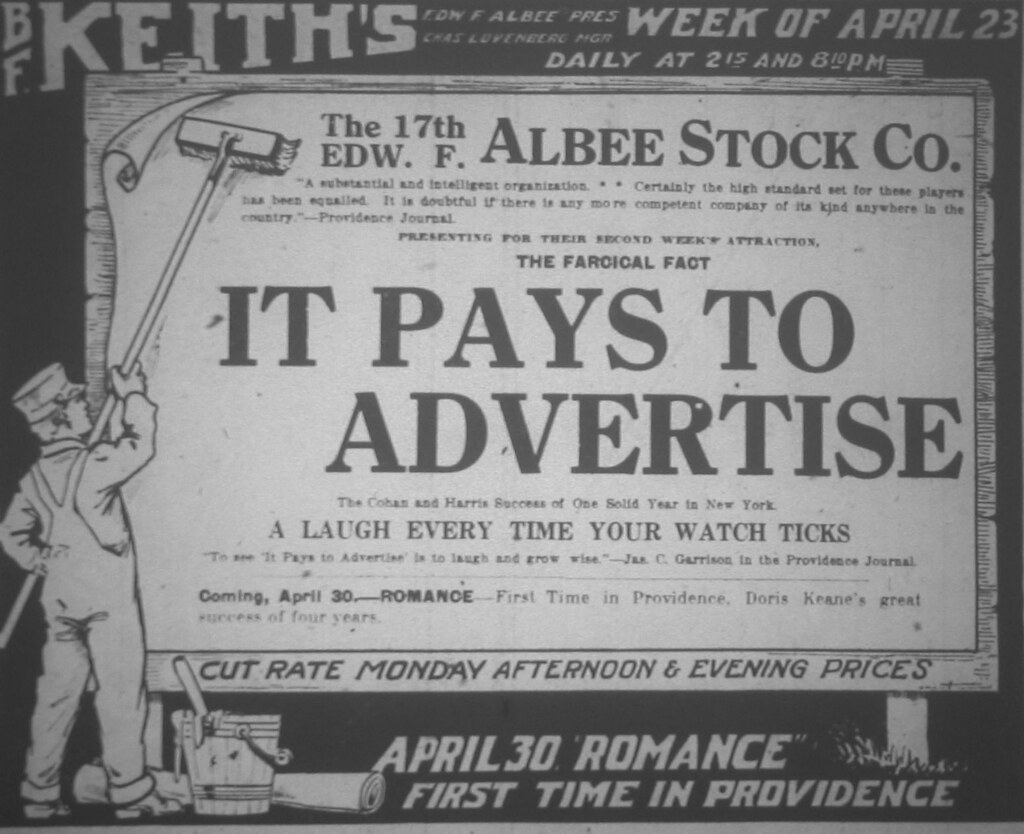 April 22 - BF Keith's - It Pays To Advertise (Albee Stock