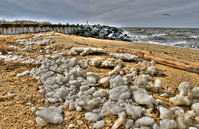 Ice-on-beach, Cape May Point - HDR