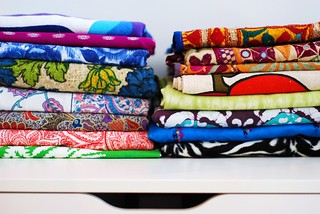 Stacks of fabric in home office | by kimhaseightcats