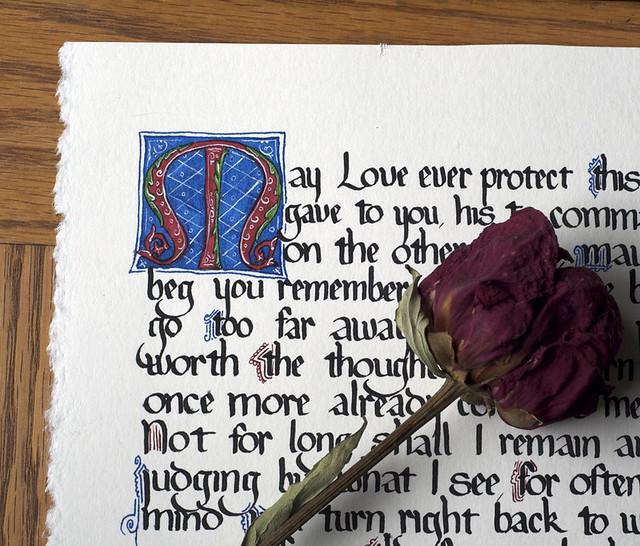 Dante love poem in medieval calligraphy