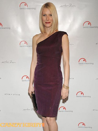 b4522530fca0 Gwyneth Paltrow in a One-Shoulder Plum Dress at the Bent on Learning Benefit