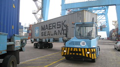 tractor and driver close up, Algeciras Container Terminal