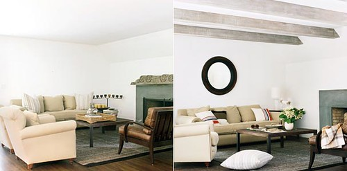 Before & after living room: Faux wood beams + round mirror ...