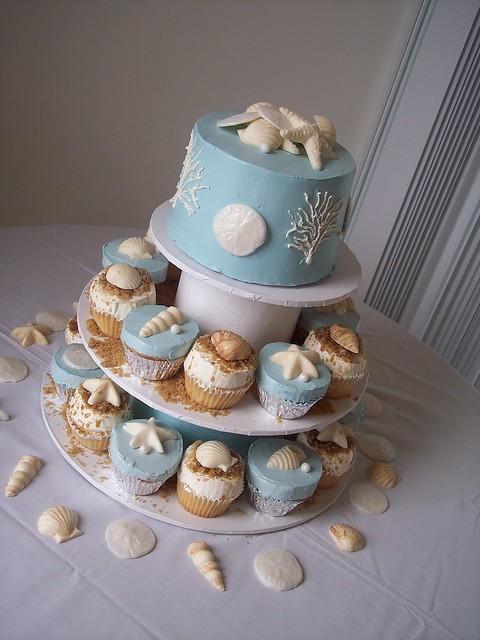 Beach Wedding CupCake Towers; Wilmington, NC Carolina Cakes & Confections