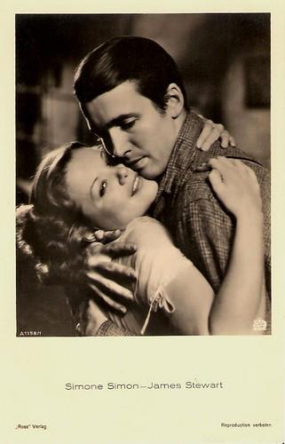 Simone Simon and James Stewart in Seventh Heaven (1937)