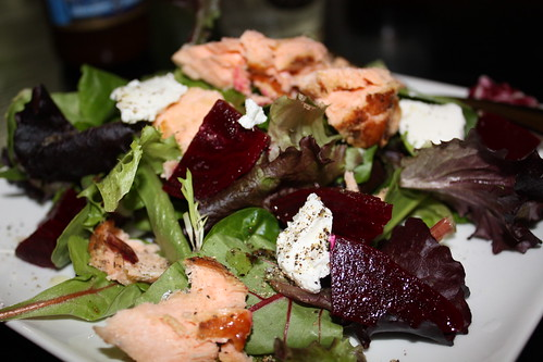 Maple Dijon Salmon Salad with Beets and Goat Cheese | by chefelf