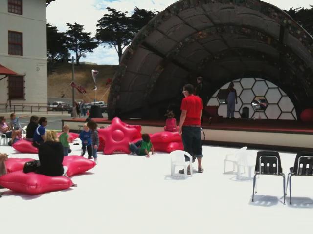 Bushwaffle provides seating and play space at Fort Mason
