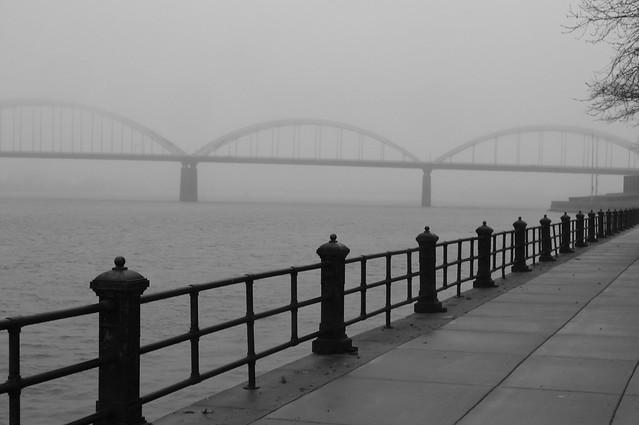 Centennial Bridge fog scene