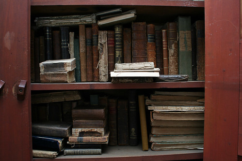Old books in Sarah's house   by lungstruck