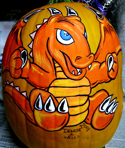 Dragon Pumpkin painting by Denise A. Wells