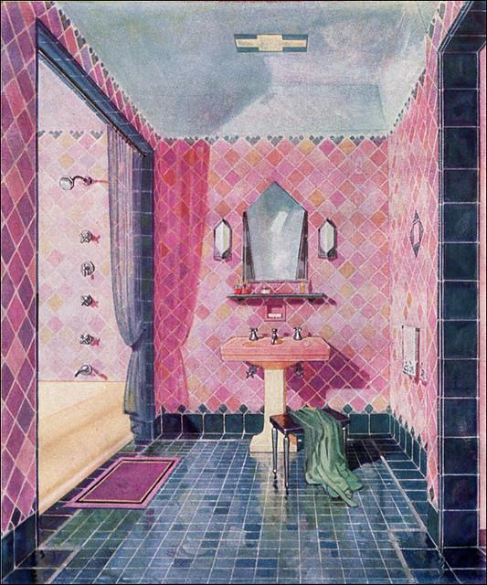 1920s Bathroom Design Art Deco This Is A Beautiful Illus Flickr