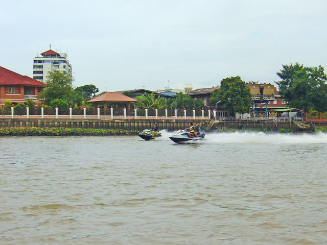 Jet skis on the Chao Phraya river near Ko Kret island