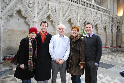 Jenny Rissman, Ryan French, Jean Parish and Josiah Telschow are delighted to meet John Rutter | by vocalessence