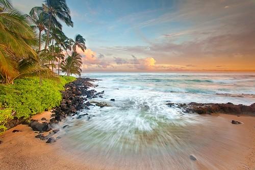 ocean trees sunset sea sky seascape beach clouds landscape island hawaii coast rocks waves coconut palm shore kauai tropical brianknott forgetmeknottphotography fmkphoto