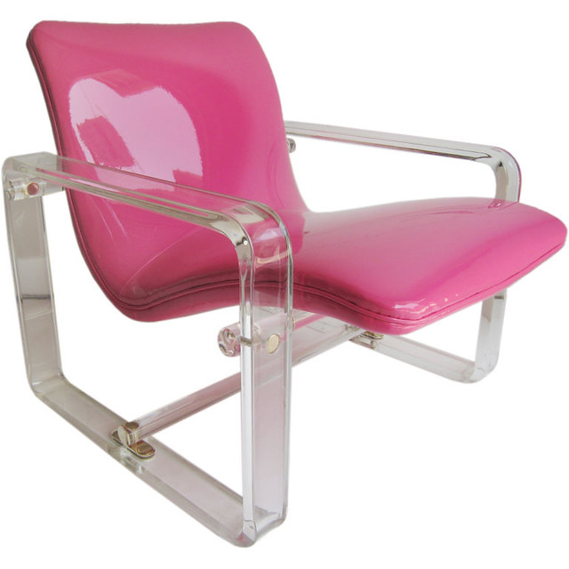 Pink lucite chair from Downtown