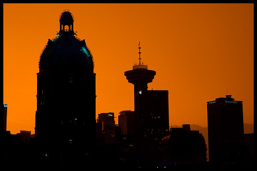 city sunset urban orange canada silhouette skyline vancouver downtown bc britishcolumbia vibrant vivid colourful suntower harbourcentre zd mywinners 1260mm olympuse3