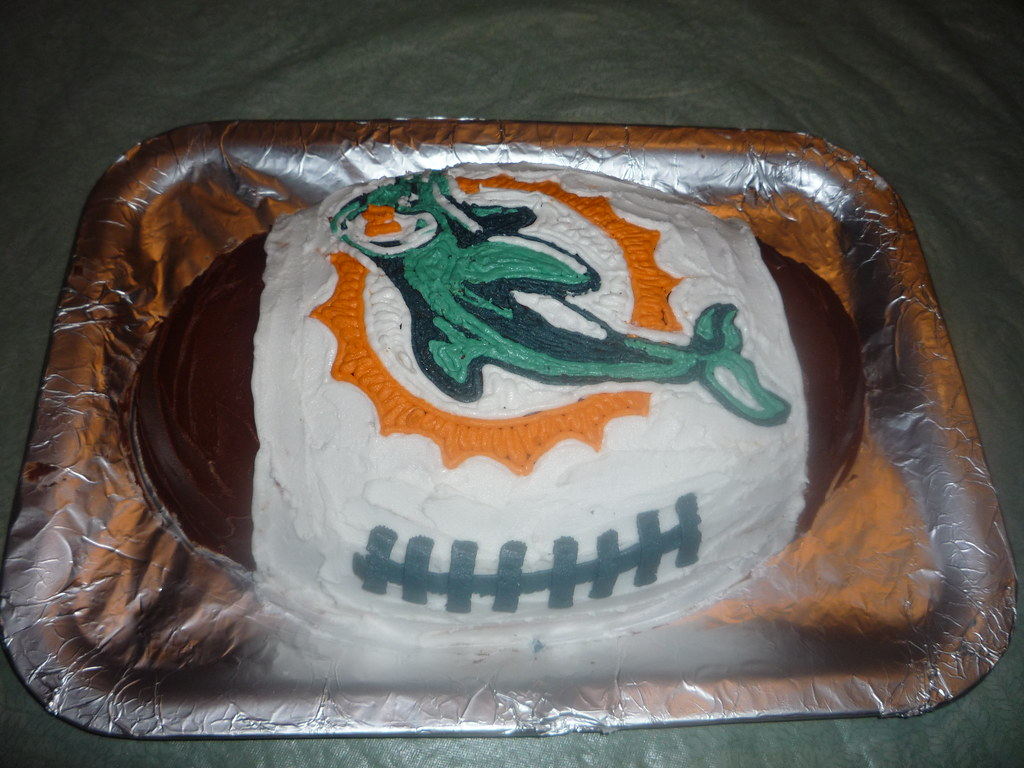 Surprising Miami Dolphins Football Cake For Jesss Moms Birthday Ye Flickr Personalised Birthday Cards Paralily Jamesorg
