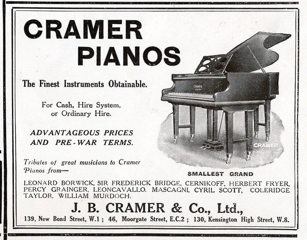 Cramer Pianos Ad, 1922 | Vintage 1920s Ads from The Sphere R
