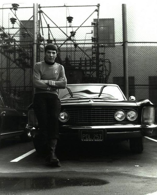 Leonard Nimoy leans against his 1964 Buick Riviera