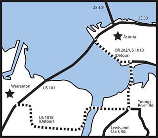 Detour route for New Youngs Bay Bridge closure   by OregonDOT