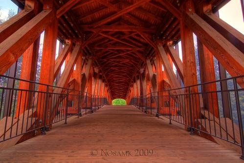 wood bridge architecture nc tripod northcarolina pedestrian covered moravian hdr gitzo winstonsalem oldsalem timberframe photomatix ndx8 5exposure nd09 burrarch arcatech tokinaatx116prodx gt2531