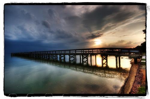 sunset sky sun storm reflection water clouds river virginia dock nikon sigma va drama 1020 hdr jamesriver newportnews d90 project365