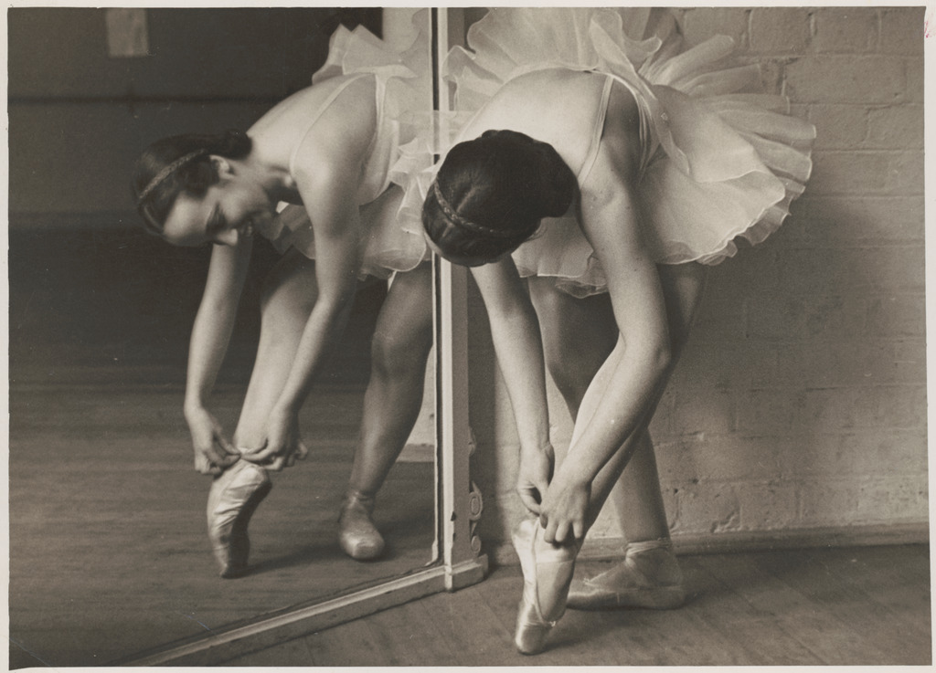 Rachel Cameron adjusting ballet shoes