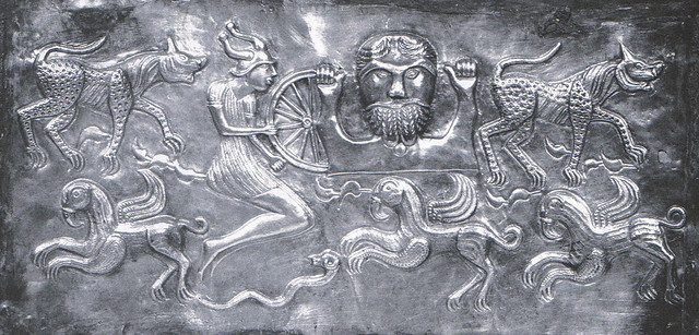 celtic god Taranis with wheel and another goddess