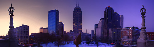 plaza morning panorama snow tower skyline architecture america skyscraper sunrise buildings dawn one downtown stitch indianapolis north steps bank indiana panoramic chase 300 warmemorial meridian regions platinumphoto